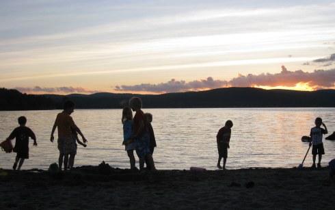 kids on beach silhouette